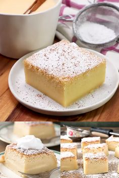 What starts with one easy batter turns magically into a three layered cake. A thin crust, a creamy custard and a fluffy sponge cake! Eggnog Magic Cake is a delicious Christmas dessert recipe. Magic Cake Recipes, Sponge Cake Recipes, Cookie Recipes, Köstliche Desserts, Delicious Desserts, Dessert Recipes, Eggnog Recipe, Eggnog Cake, Tea Cakes