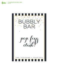 New Year's Eve printable Bubbly Bar Sign