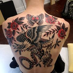 B L E U traditional eagle vs snake rose full back piece tattoo Eagle Back Tattoo, Eagle Tattoos, Back Tattoo Women, Sleeve Tattoos For Women, Crow Tattoos, Modern Tattoos, Trendy Tattoos, Tattoos For Guys, Traditional Back Tattoo