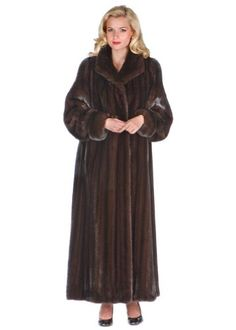 Deluxe Mahogany Mink Coat with Turn Back Cuffs