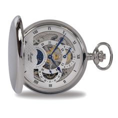 With a unique steampunk style, the Rapport Double Hunter Moonphase Manual Wind Pocket Watch features a moonphase function and a skeletonized, 17 jewel, mechanical mov. Dapper Dan, Moon Phases, Steampunk Fashion, Silver Plate, Bracelet Watch, Pocket Watches, Jewels, Cool Stuff, Unique