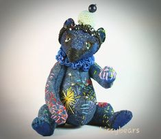 Artist Bears and Handmade Teddy Bears Stars Then And Now, Hello Dear, Denim Fabric, Vintage Denim, Constellations, Cosmic, Glass Beads, Bears, Dinosaur Stuffed Animal