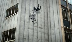 High art ... sketch of woman and trolley falling off a building