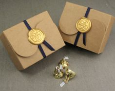 Medium Size Wedding Favor Box, Kraft Gift Box and Wedding Monogram Wax Seal Ornament with Elastic Band Pieces) Handmade Soap Packaging, Scarf Packaging, Jewelry Packaging, Gift Packaging, Packaging Design, Wedding Favor Boxes, Wedding Gifts, Seal Design, Kraft Gift Boxes