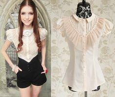 Kawaii Cute Sweet Gothic Lolita Princess Lace Short Sleeve Blouse Top Shirt s XL | eBay