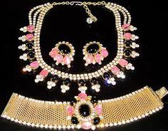 HOBE Golden Mesh Pink & Black Glass & Rhinestone Necklace Bracelet Earring Set | eBay