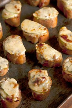 Piquant Stilton replaces the more traditional cheddar in this bite-sized twist on the classic British dish.