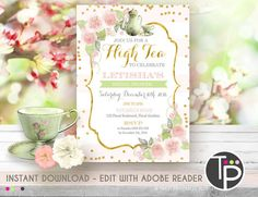 HIGH TEA Invitation Instant Download by TweetPartyPrintables