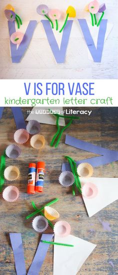 This Letter V Craft, V is for Vase, is a beautiful complement to a botany activity or as an educational craft around Mother's Day. #preschool #prek #kindergarten #kidscraft #craftsforkids #iteachtoo #teachersfollowteachers #alphabet #mothersday