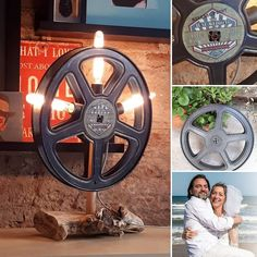 🎁 Its a pleasure when you get to make a Wedding gift for such a lovely couple 👰🏼🤵🏻 Cristina & Fele . This 🎬Cinema inspired💡 lamp was… Industrial Style Lamps, Wedding Gifts, Cinema, Inspired, Deco, Couples, How To Make, Inspiration, Instagram