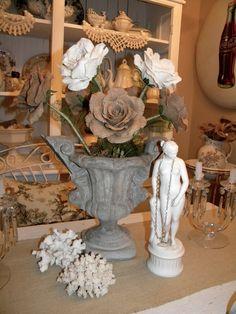 Concrete Urn With Burlap Flowers
