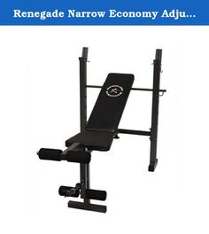 Renegade Narrow Economy Adjustable Olympic Bench. GWS-NE Features: -5 Position bench adjusts from flat incline and decline. -Made of stitched, branded upholstery, ample cushioning. -Narrow economy bench crafted with the novice lifter in mind. -Leg extension/leg curl with accompany safety catches. Product Type: -Olympic bench. Frame Color: -Black. Upholstery Color: -Black. Frame Material: -Steel. Number of Items Included: -1. Total Weight Capacity: -300 Pounds. User Weight Capacity: -300...