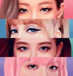 Since I finally finished drawing all Blackpink members: another Eyememe! Since I finally finished drawing all Blackpink members: another Eyememe! Kpop Drawings, Cute Drawings, Kpop Girl Groups, Kpop Girls, Fanart Kpop, Pink Drawing, Black Pink Kpop, Blackpink Members, Blackpink Photos