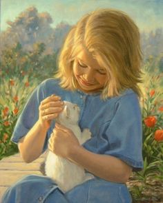 ART~ The Little White Kitten~ By Robert Duncan