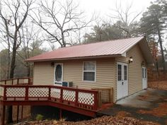 Charming cabin nestled on 2.75 acres in the Eureka Springs city limits. Situated on wooded land that overlooks Leatherwood hollow but still on a paved road and just minutes from downtown Eureka Springs. Plenty of room for that perfect get away or could be used as a full time rental. Large private deck off the back to enjoy the beauty that the Ozarks has to offer. Stack-able washer and dryer, wood floors, energy efficient window heating and cooling, walk in shower in Eureka Springs AR