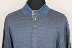 Bugatchi Uomo Mens Short Sleeve Polo Shirt sz XL Multi-Color Striped #BugatchiUomo #PoloRugby