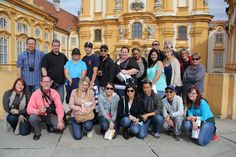 University of Redlands School of Business Study Abroad Students in the courtyard of Melk Abbey, Austria