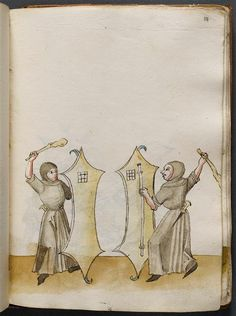Mace, shield, weapons drill.  Manuscript: 'Treaty of combat' (tradition master Johann Lichtenauer). Training combat techniques, judicial duel Franconian shield fitted with metal spikes, ca 1490-1500 (C) RMN (Musée de Cluny - National Museum of the Middle Ages, Paris, France: www.musee-moyenage.fr/ ) / Jean-Gilles Berizzi