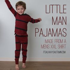 There's something special about putting on a new set of pajamas before bed. Pretty Prudent delivers a great upcycle how-to for sewing pajamas from a men's XXL t-shirt. Get your little man ready for sleep in style with this DIY. Sewing For Kids, Baby Sewing, Free Sewing, Diy For Kids, Sewing Men, Sewing Hacks, Sewing Tutorials, Sewing Projects, Sewing Patterns