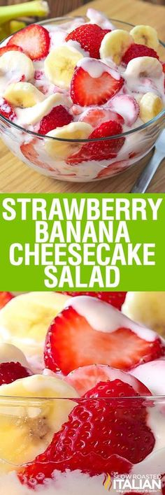 Simple Strawberry Banana Cheesecake Salad recipe comes together with just 6 ingredients. Rich and creamy cheesecake filling is folded into luscious strawberries and sweet banana to create the most amazing, glorious fruit salad ever!  The flavor has been punched up with a secret ingredient and you are going to go nuts over this recipe! The king of the potluck table has arrived.