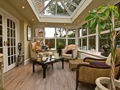 Orangery by Vision. Nicely proportioned roof lantern and transom windows.