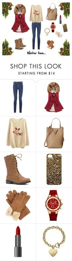 """""""Winter outfit"""" by mihaella-amariei ❤ liked on Polyvore featuring Yves Saint Laurent, Chicnova Fashion, Oscar de la Renta, Marc by Marc Jacobs, UGG Australia, Michele and Michael Kors"""