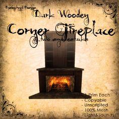 [DDD] Dark Wooden Corner Fireplace - 1 prim only! 100% Mesh, Subtle sounds & light, timeless style