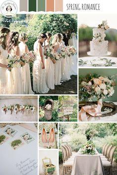 Hochzeitsfarben Pastellfarben Grün, Pfirsich und Grau - Frühling- und Gartenhochzeit