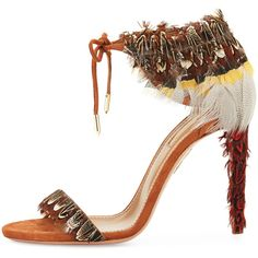 Showstopping Shoes Are Definitely In for Pre-Fall 2016. Women's Special  Occasion Dresses at Neiman Marcus. Aquazzura Rio Feather Ankle-Tie Sandal  ...