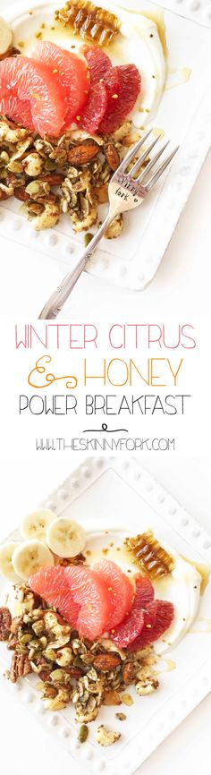 This Winter Citrus & Honey Power Breakfast is a new favorite. Grapefruit and blood oranges make up the citrus part, paired with greek yogurt, honey, and a grain-free granola! Perfect for meal prepping. TheSkinnyFork.com | Skinny & Healthy Recipes