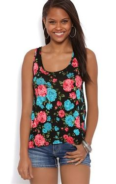 Deb Shops #Floral Print High Low Tank with Lace Racerback $10.00