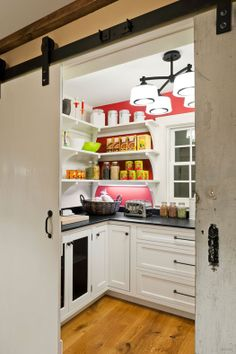 Barn door-View into the Pantry