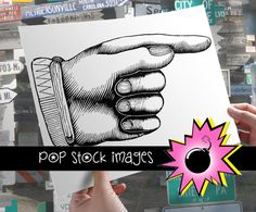 Pointing Finger - Large Digital Image of Pointing Finger - Finger Pointing Busy Hand Digital Stamp - Download & Print