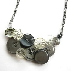 Vintage Button Necklace Glamorous Gray by buttonsoupjewelry, $32.50