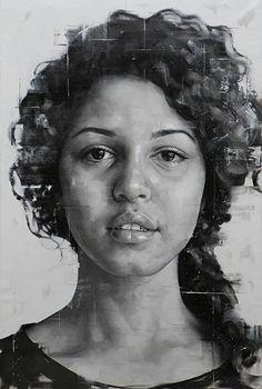 """""""Untitled 11"""" - Silvio Porzionato (Italian, b. 1971), oil on canvas, 2016 {figurative #expressionist art beautiful female head grunge monochrome woman face portrait painting #loveart #2good2btrue} silvioporzionato.com"""