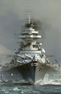 Bismarck, German battleship of World War II that had a short but spectacular career. The Bismarck was laid down in 1936 and launched in… Navy Military, Military Art, Bismarck Ship, World Of Warships Wallpaper, Poder Naval, Bismarck Battleship, Hms Prince Of Wales, Ship Drawing, Us Navy Ships