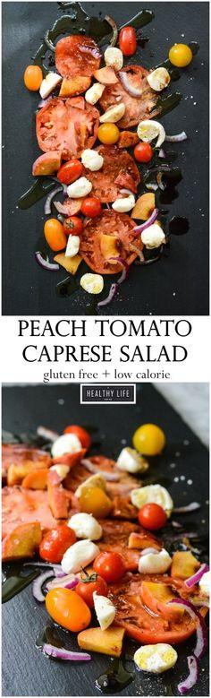 Peach Tomato Caprese Salad   Salad Recipes   Gluten Free Recipes   Vegetarian Recipes   Clean Eating Recipes