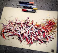 Graffiti BlackBook : Drawing Sketch BlackBook Wildstyle Graffiti Alphabet Letter Red Color With Graffiti Superhero Characters Combination Wildstyle Letter And Graffiti Superhero Character Graffiti Writing, Graffiti Tagging, Graffiti Lettering, Street Art Graffiti, Graffiti Artwork, Wildstyle Graffiti Alphabet, Cool Sketches, Drawing Sketches, Train Art