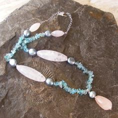 Necklace in Sterling Silver with Teal Apatite, Pearls & Rose Quartz Gemstones £34.00