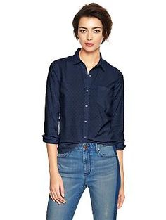 Fitted boyfriend Swiss dot shirt | Gap $35