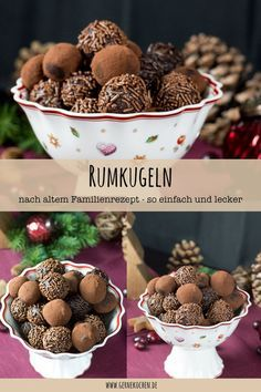 Rum balls recipe: - Old family recipe - gernekochen.de - Our old family recipe for rum balls is so easy and quick to replicate. The chocolates for the Chris - Rum Balls, Rum Recipes, Air Fryer Recipes, Balls Recipe, Recipe Recipe, Tapas, Southern Recipes, Turkey Recipes, Family Meals