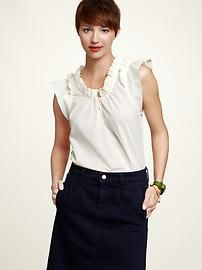 Ruffled Button Top - available in cream, tangerine, and raspberry. $49.95