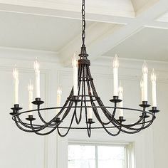 Collins 12-Light Chandelier. I can absolutely recreate this design by rope. Spray painting it after the rope. DIY inspiration!!