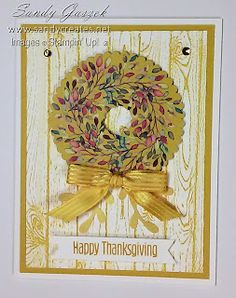 This card is an alternative that I made using pieces and the sentiment stamp from the August Paper Pumpkin, The Gift of Fall, from Stampin' Up!, supplemented with other items from my stash. Fall Cards, Holiday Cards, Stampin Up Paper Pumpkin, Pumpkin Cards, How To Make Bows, Cardmaking, Decorative Boxes, Merry, Paper Crafts