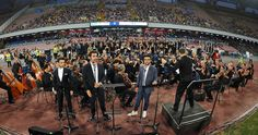 The Il Volo band performs for the party of 90 years of the ssc Naples before the pre-season friendly match between SSC Napoli and OGC Nice at Stadio San Paolo on August 1, 2016 in Naples, Italy.