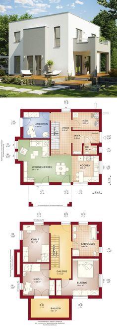 Einfamilienhaus modern mit Galerie & Flachdach Architektur im Bauhausstil - Haus bauen Grundriss Fertighaus Evolution 136 V9 Bien Zenker Hausbau Ideen - HausbauDirekt.de