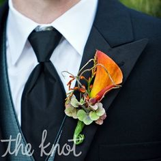 I like the extra details on this one: Orange Calla Lily Boutonnieres