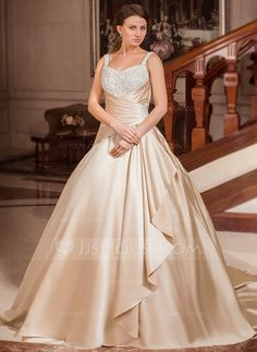 Wedding Dresses - $264.99 - Ball-Gown Sweetheart Court Train Satin Wedding Dress With Ruffle Lace Beadwork (002012634) http://jjshouse.com/Ball-Gown-Sweetheart-Court-Train-Satin-Wedding-Dress-With-Ruffle-Lace-Beadwork-002012634-g12634