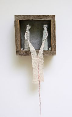 hand embroidery diorama  Connection no. 8 by MarysGranddaughter, $595.00