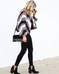 Faux fur coat and black jeans #fallstyle #fall #ootd